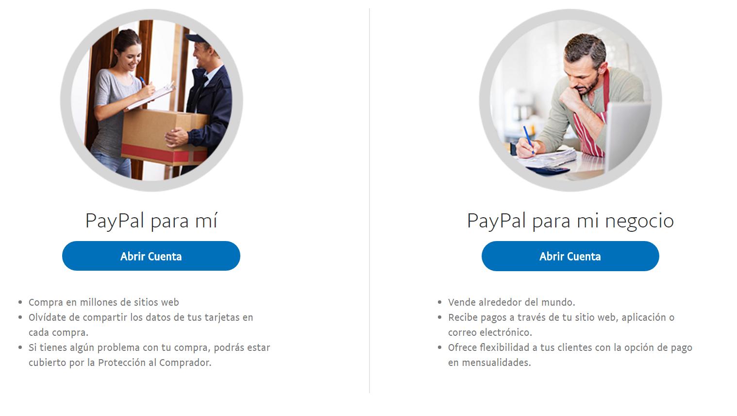 Creando cuenta paypal