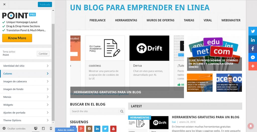 Apariencia de un blog con wordpres