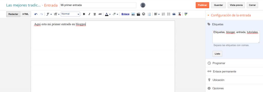 Creando una entrada en blogger