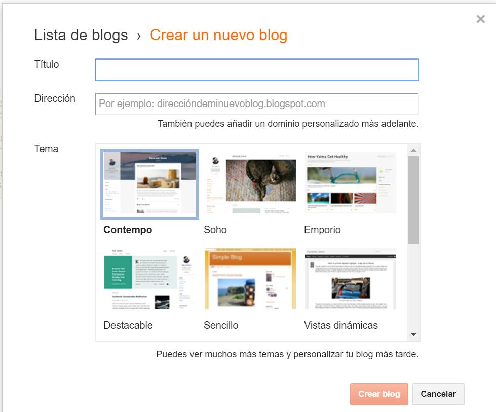 Crear un nuevo blog