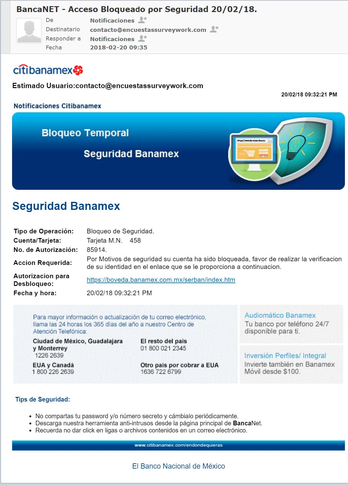 Email fraudulento – Intento de robo de indentidad y/o datos bancarios
